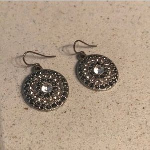 Anthropologie Circle Sparkle Earrings Silver
